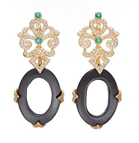 Amethyst By Rahul Popli Black Silver Stud Earrings - B00OYTQN5Y