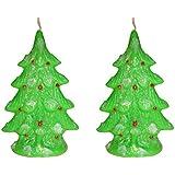 Atorakushon Smokeless Decorative Multi Designer Pack Of 2 Smokeless Scented Christmas Tree Candles For X-mas New...