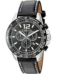 Stuhrling Original Men S Monaco Swiss Quartz Stainless Steel And Black Leather Sport Watch Model 210A2.33D51