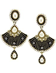 Tradisyon Bollywood Inspired Party Black Chandiler Earring By Kaizer