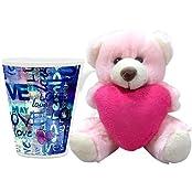Valentine Gift HomeSoGood Valentine's Day Abstract Art White Ceramic Coffee Mug With Teddy - 355 Ml