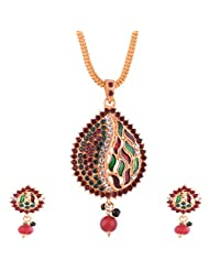 Ganapathy Gems Gold Plated Pandent Set With Red, Green And White Stones With Chain