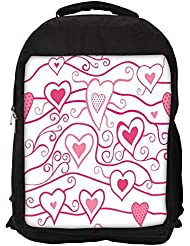 """Snoogg Abstract Pink Heart White Pattern Casual Laptop Backpak Fits All 15 - 15.6"""" Inch Laptops"""