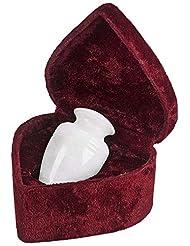 Elegante Beautifully Crafted Genuine Marble White Grain Keepsake With Elegant Velvet Case