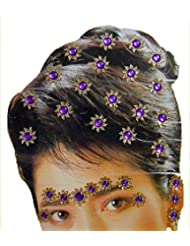 DollsofIndia Golden And Purple Color Stone Studded Stick-on Hair, Forehead And Ear Decoration For Brides (Can...