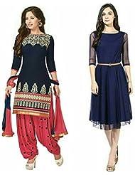 Jashvi Creation Women's Regular Wear Dress Material And Kurti (Combo Pack Of 2)(jc_472_kurtas)(blue Dress_nevyblue...