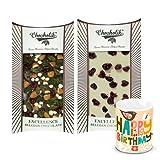 Chocholik Luxury Chocolates - Intense Snowy White & Dark Chocolate Bars With Birthday Mug