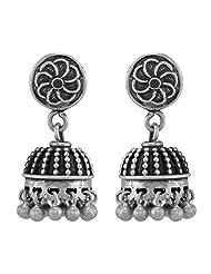 Small Antique Finish Designer Silver Jhumki Earring-17896