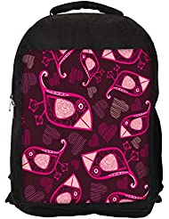 """Snoogg Abstract Pink Birds And Hearts Casual Laptop Backpak Fits All 15 - 15.6"""" Inch Laptops"""