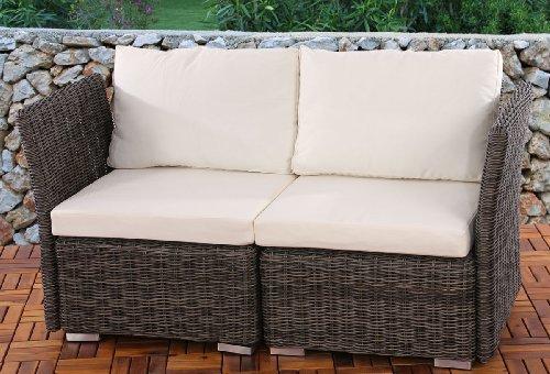 2er Sofa 2-Sitzer Siena Poly-Rattan, Gastronomie-Qualität ~ naturgrau mit Kissen in creme