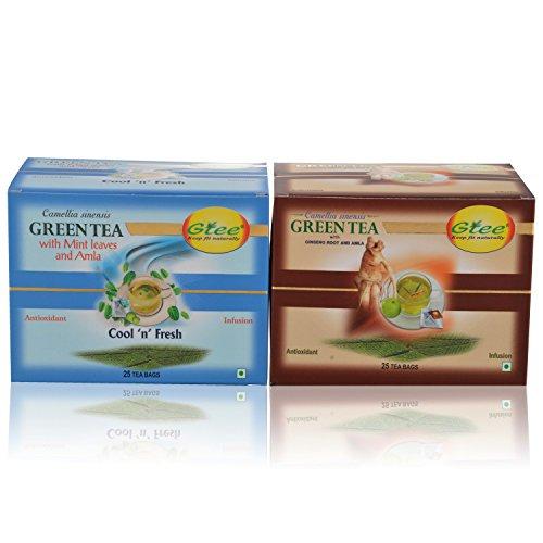 GTEE Green Tea Bags-Mint & Green Tea Bags - Ginseng (25 Tea Bags X 2PACKS)