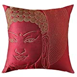 13 Odds Buddha Face Quilted & Embroidered Cushion Cover - Maroon & Antique Gold