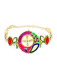 Peacock Theme Multicolor Enamel Red Glass & White Cubic Zirconia Gold Plated Brass Watch