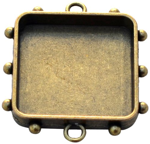 Susan Lenart Kazmer Art Mechanique Square Hobnail, Medium, Antique Brass