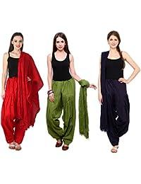 Fashion Store Combo Of Womens Solid Cotton Red ,Green & Navy Blue Best Ethnic Comfort Punjabi Patiala Salwar Bottom...