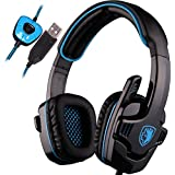 SADES SA901 7.1 Channel Virtual USB Surround Stereo Wired PC Gaming Headset Over-Ear Headband Headphones With...