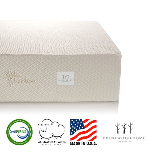 Brentwood Home 13-Inch Gel HD Memory Foam Mattress, Natural Wool Sleep Surface and Bamboo Cover, Queen