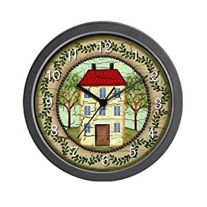 country kitchen wall clocks primitive folk country home wall clock 6167