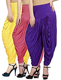 Fashion And Freedom Women's Pack Of 3 Yellow, Pink And Violet Lycra Base Viscose Dhoti