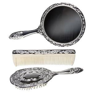 3 pc Silver Chrome Girls Vanity Set Comb Brush Mirror ...