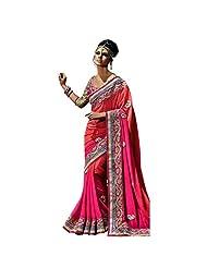 YSK Pink Wedding Saree Georgette Embroidery Border Indian Sari - Buy Wedding Sarees Online | YSKVR110B