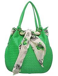 Stylocus - Ladies Tote Bag-Faux Leather Fabric Bags -Printed Scarf Handbags