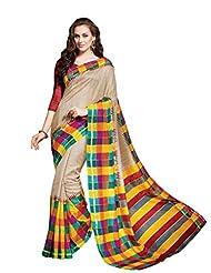 Beige Colour Faux Bhagalpuri Semi Party Wear Checks Printed Saree 13340