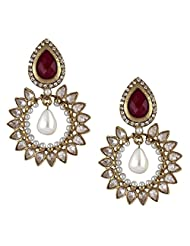 The Jewelbox Gold Plated Dangle & Drop Earring For Women ( Red )