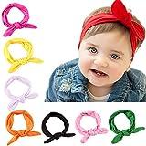 Jiaqee 8 Pack Cotton Baby Girl Cute Headband Head Wrap Elastic Bunny Ears Infants Hair Band Holder