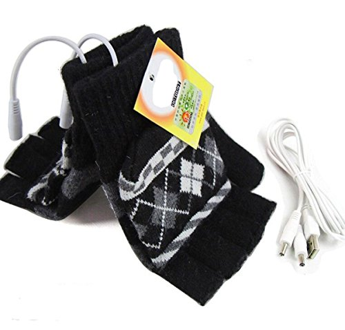 SOONHUA Laptop Rechargeable USB Heated Knitting Wool Hand Gloves Half Finger for Winter Keep Warm Safety