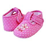 Pretty Polka & Periwinkle Girls Soft Soles Velcro Crib Shoes (Infants/Toddlers)