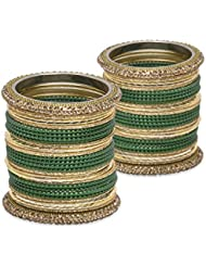 The Indian Way Bangle Set- Dark Green Lacquer Wedding Bangles For Women