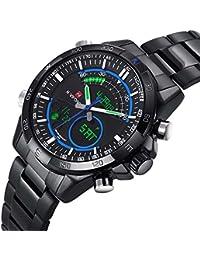 Gosasa Full Black Steel Quartz Led Digital Watch Men Sports Watches LED Army Military Wrist Watch Blue