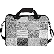 """Snoogg Set 3 Sixteen Black And White Wave Patterns Seamlessly Tilingseamless Pat 17"""" 17.5"""" 17.6"""" Inch Laptop Notebook..."""