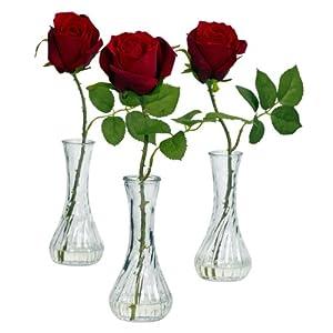 Rose w/Bud Vase (Set of 3)