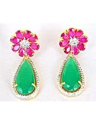 Floral Ruby Emerald Drop Earrings