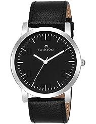 Swisstone GR106-Black Dial Black Leather Strap Analog Wrist Watch For Men