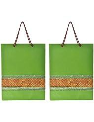 Richa Kriti Handmade Paper Reusable Shopper Bag (Green) - B019S2KMQM