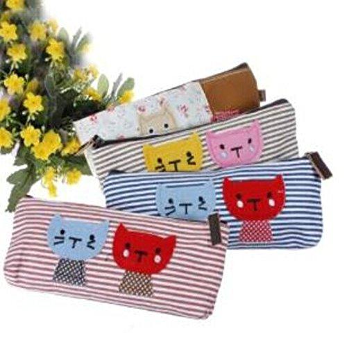 Go-RetailStore Lot de 4 trousses en tissu Couleurs variées Cat Pattern