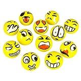 Fun Emoji Face Squeeze Balls 12 ~ 3 Stress Relax Emotional Toy Balls ~ Fun Office Holiday Gift ~ Stocking Stuffer... - B00P1OWW6K