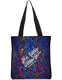 Snoogg Life Is Nothing Without Love Digitally Printed Utility Tote Bag Handbag Made Of Poly Canvas