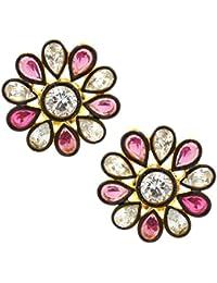 The Jewelbox 7 Stone Flower Kundan Polki American Diamond Sapphire Pink Gold Plated Stud Earring For Women