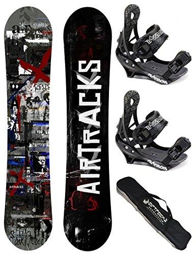 AIRTRACKS SNOWBOARD SET / CROUD SNOWBOARD WIDE FLAT ROCKER + BINDUNG SAVAGE + SB BAG / 155 159 163 165 / cm