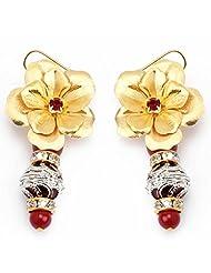 Aarya 24kt Gold Foil FloweR With Mina Dangler Earring For Women - B00LBZS1FY