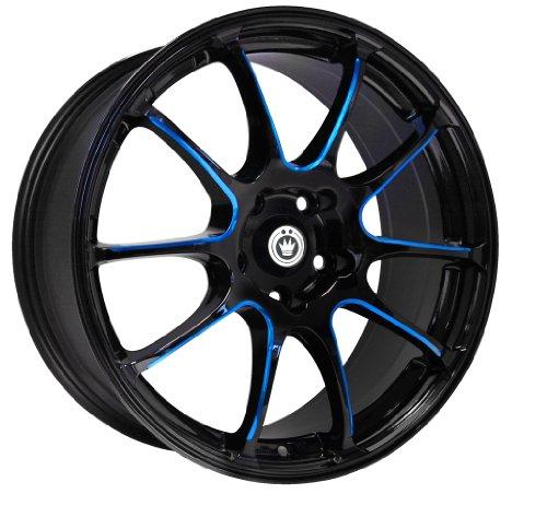 Konig Illusion Black Ball Cut Blue Wheel (17×7″/5×114.3mm)
