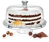 Kuchenplatte 4 in 1 Tortenplatte / Servierplatte + Glocke aus Glas