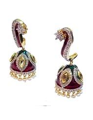 Elegant Elements Celebrity Royal Collection Cz Diamond Kundan Meena Earring For Women EEE32
