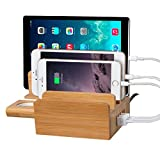 (FOR APPLE FANS) Outtek™ 3 In 1 Multi-Port USB Bamboo Charging Station (40W 5-Port USB Charging Dock) Charging...