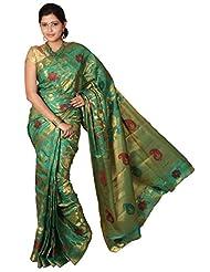 Kanchipuram Tusser Silk Saree-Dno-118-TUSS-GREEN