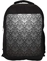 """Snoogg Grey Pattern Black Casual Laptop Backpak Fits All 15 - 15.6"""" Inch Laptops"""
